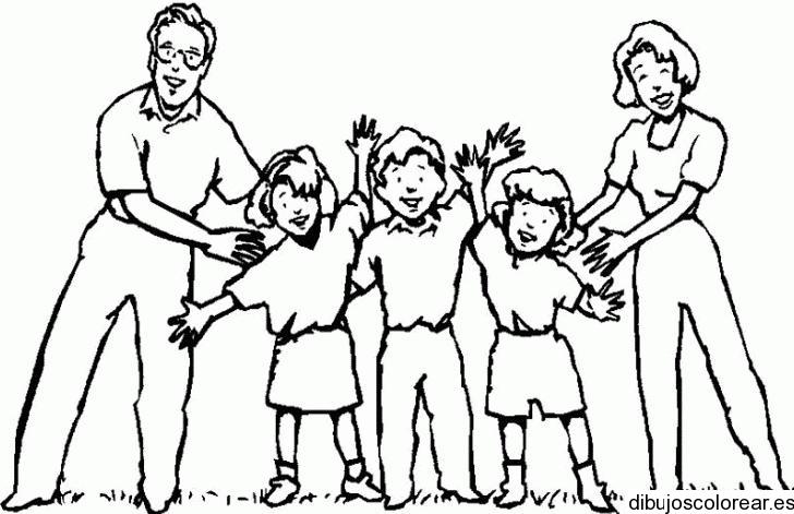 Dibujo de una familia en la playa