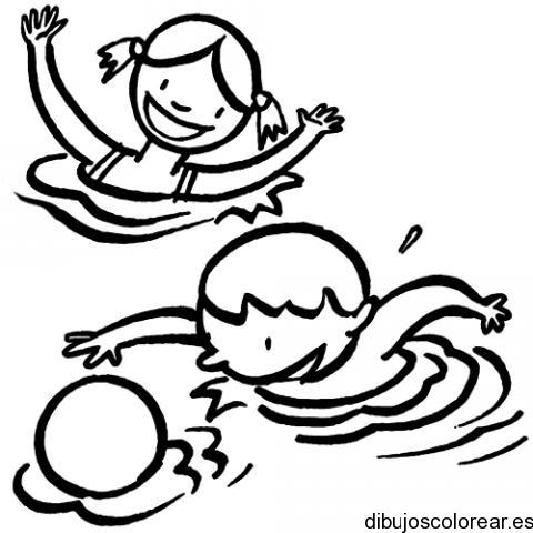 Dibujo De Niños Jugando En El Agua