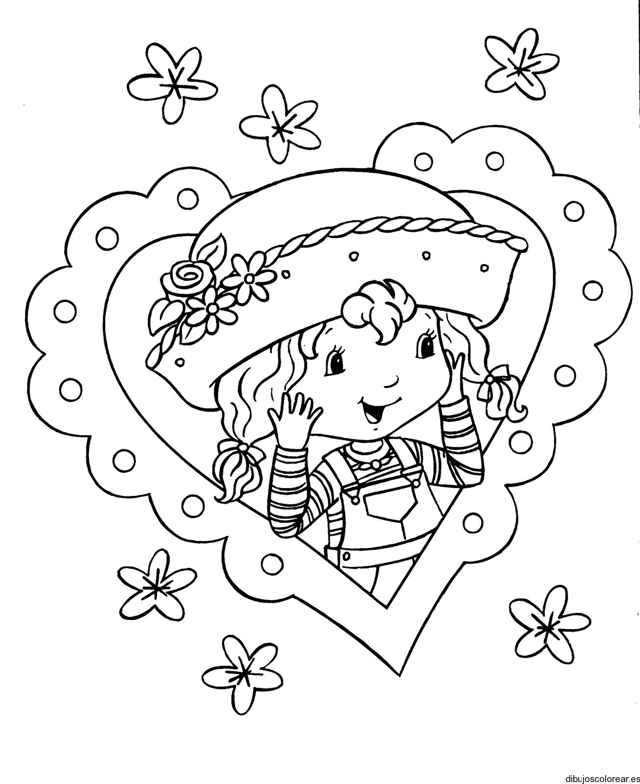 Dibujo de corazón con dos rosas dentro