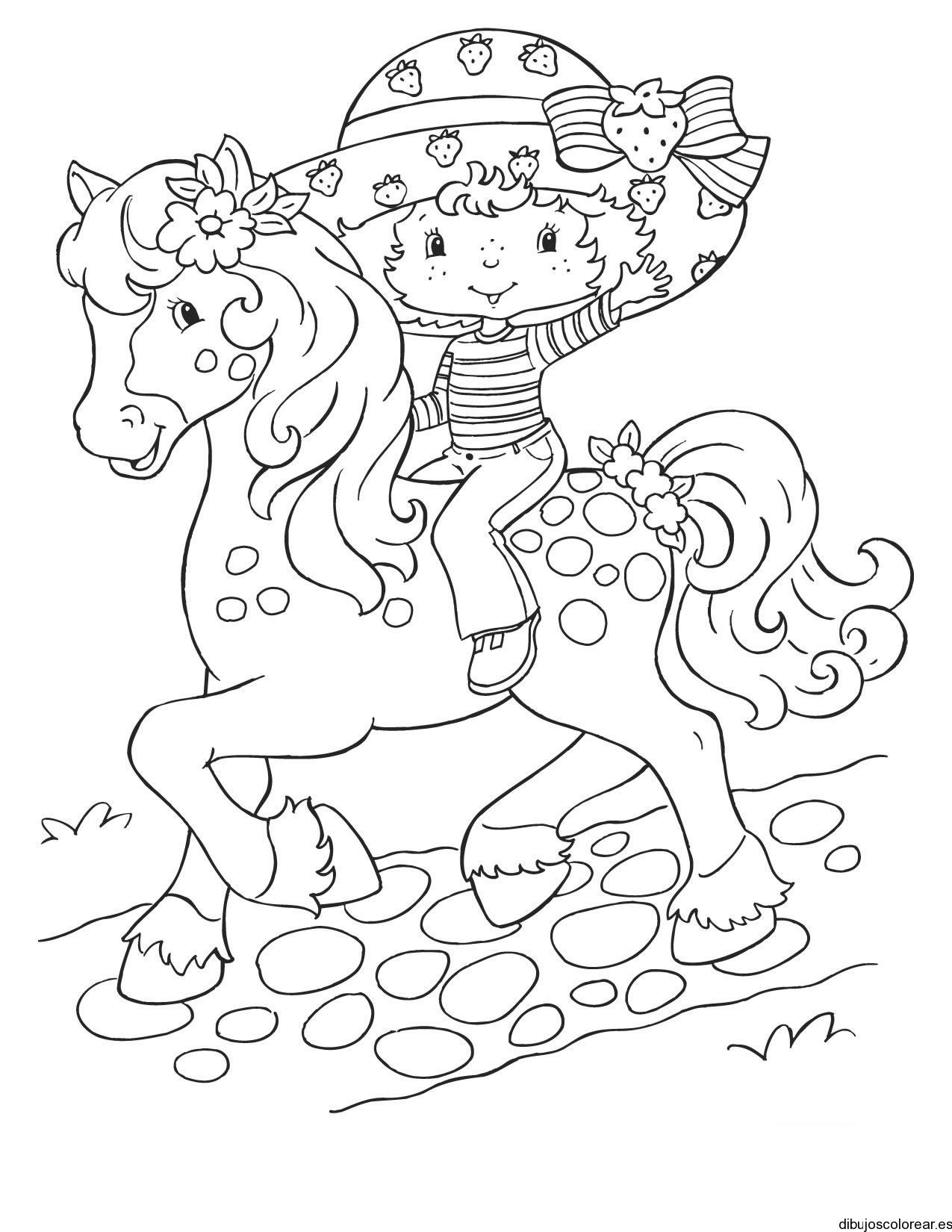 Dibujo De Fresita En Caballo