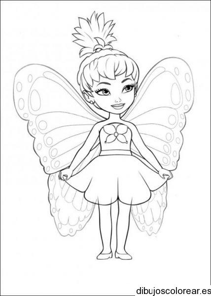 Dibujo de una niña con una hada