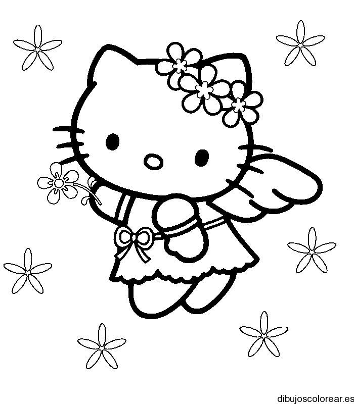 Encantador Gratis Hello Kitty Para Colorear Composición - Dibujos ...