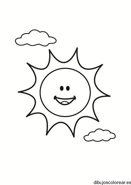 dibujo del sol y dos nubes
