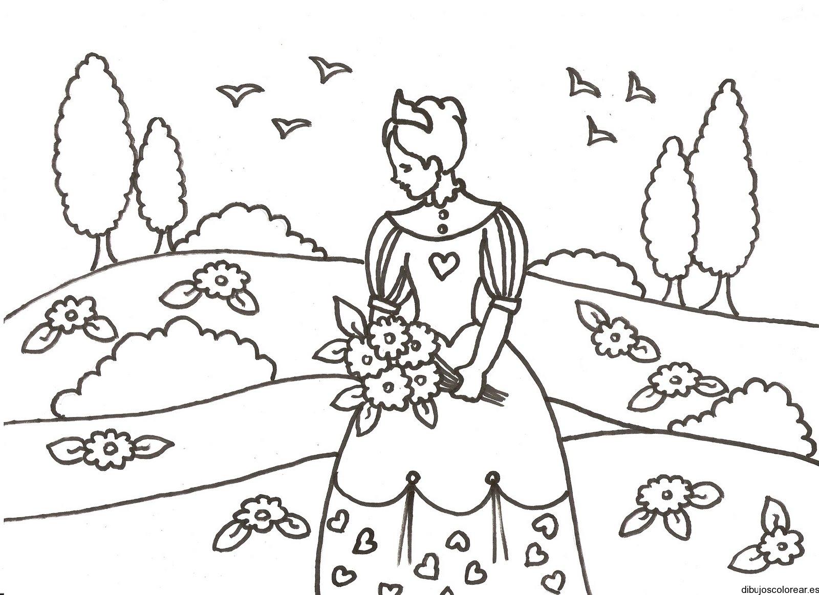 Dibujo de una princesa con ramo de flores
