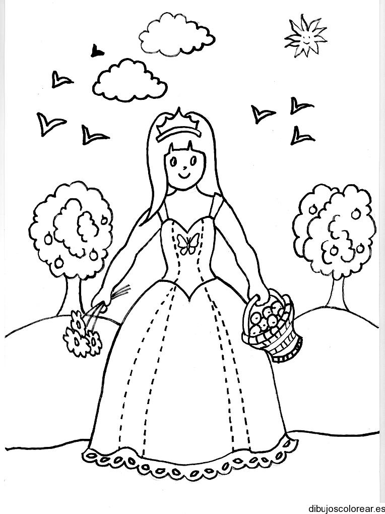 Dibujo De La Bella Durmiente Con Una Canasta