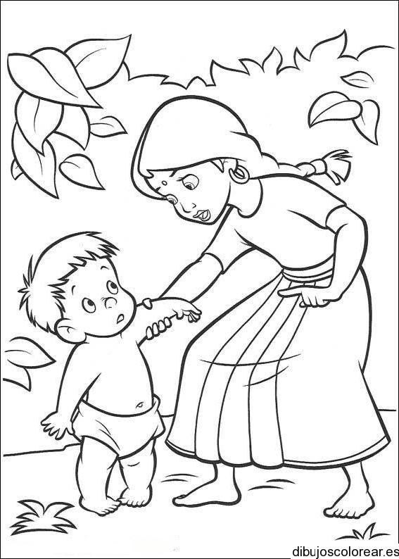 Dibujo De Un Nino Y Su Madre