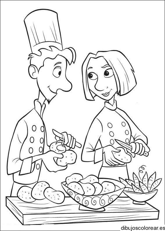 Dibujo De Dos Cocineros Enamorados