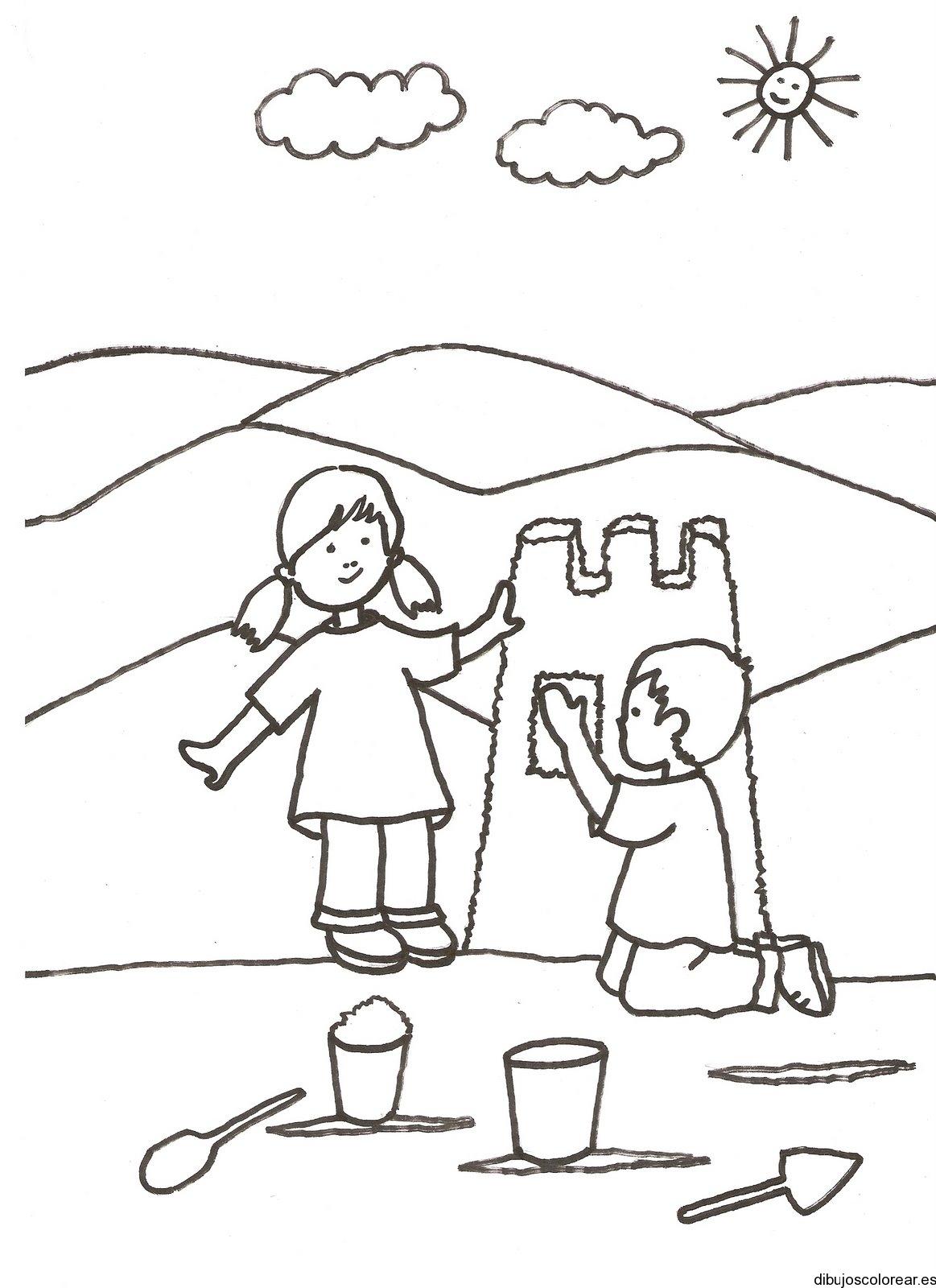 Dibujo de dos niños haciendo un castillo de arena