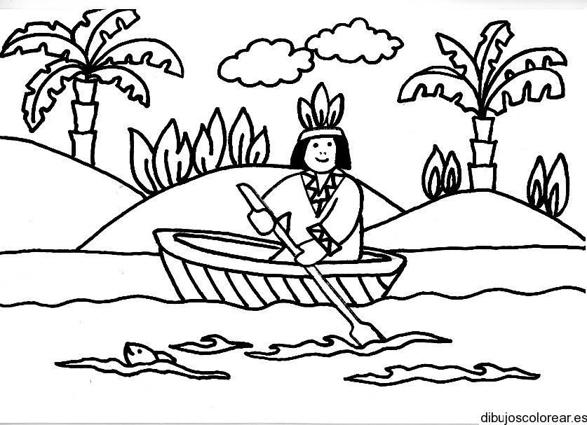 Dibujo de un niño en una canoa