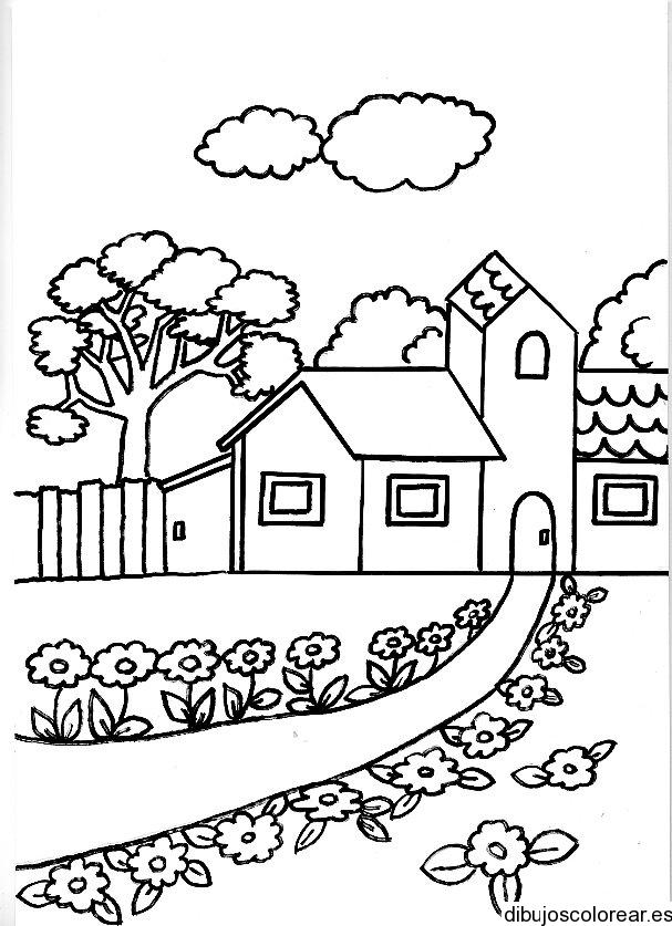 Dibujo De Una Casa Con Un Camino Con Flores