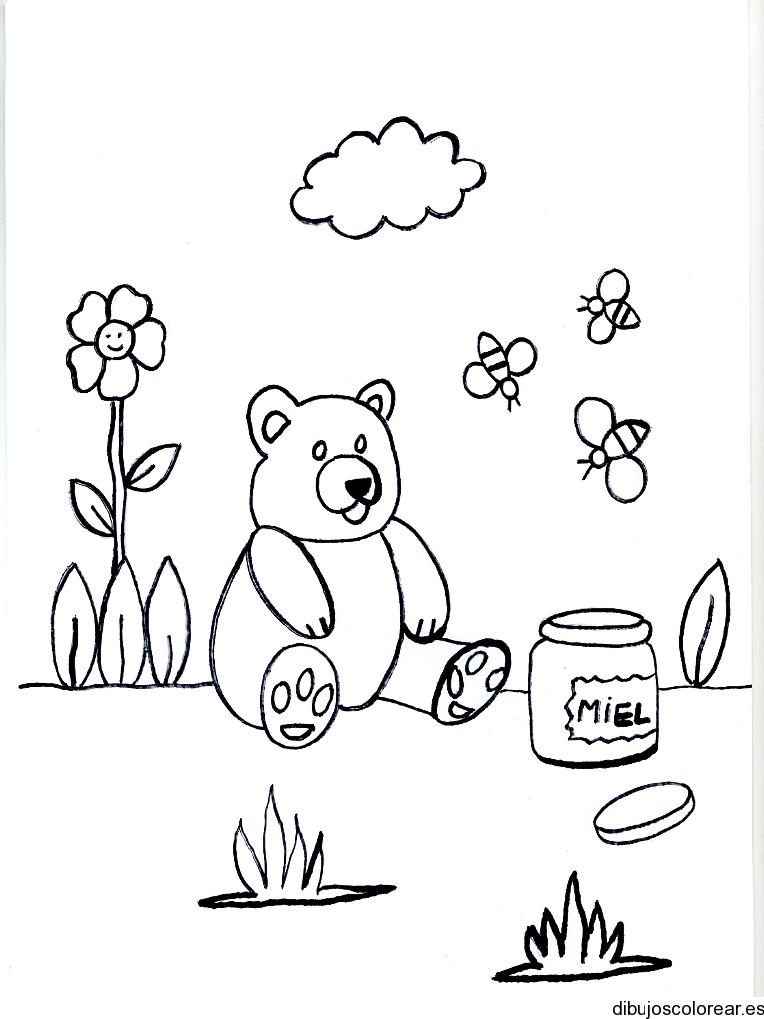 Dibujo de un osito sentado con tarro de miel