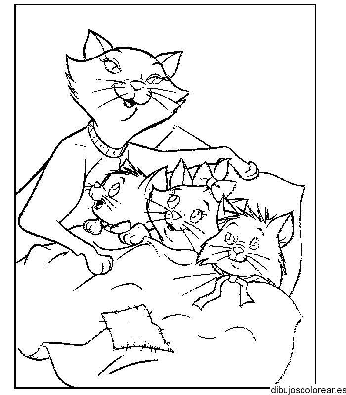 Dibujo de los Aristogatos a dormir