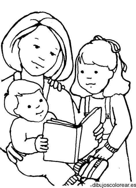 Dibujo De Una Mamá Leyendo A Su Hija