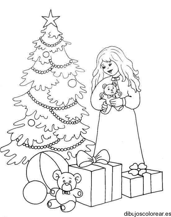 Dibujo de un árbol de navidad con regalos