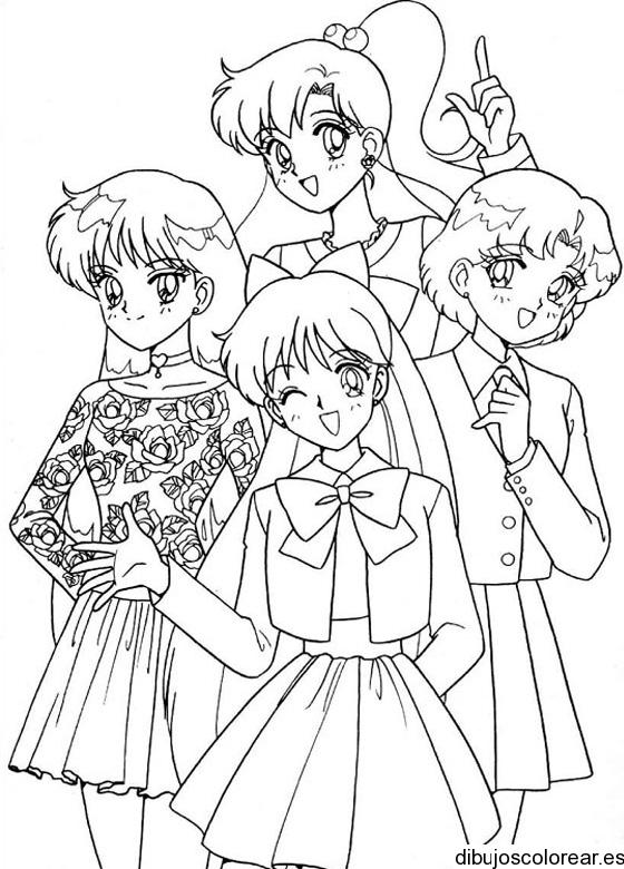 Dibujo de Sailor Moon y sus amigas